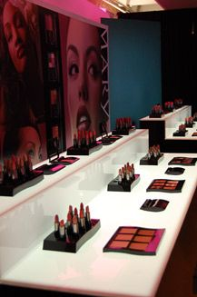 An uplit makeup bar showcased the Mary Kay products.