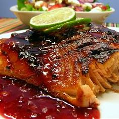 Chipotle Crusted Salmon with Triple Berry Sauce - Wow! The best salmon recipe!  Just the right amount of spicy hotness topped with a little berry sweetness.  YUM!  The rub turns into a crunchy crust (we baked it) and I will be trying this on chicken & ribs too! (brown sugar, chipotle & cumin rub w/berry preserves & lime sauce - I'm drooling!)