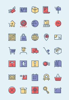 A free icon set related to the checkout and delivery process of e-commerce sites. Designed with an offset-line style and coming in various formats.
