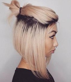 half updo with top knot for bob