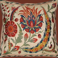 Gorgeous embroidered suzani cushion cover from Uzbekistan. Diy Pillow Covers, Diy Pillows, Pillow Inserts, Embroidered Cushions, Muslin Fabric, Best Pillow, Fabric Painting, Interior Design Inspiration, Decoration