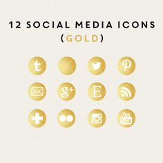Instant Download -12 Social Media Icons (Gold)