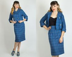 Vintage 60s PLAID Blue WOOL Two Piece SUIT  by BirthdayLifeVintage