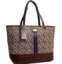 Tommy Hilfiger Tote Bag Handbag Purse (Brown / Beige)