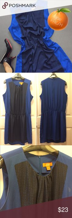 🍊joe FRESH NWOT drop waist dress🦋 NWOT! Never worn. Drop waist dress from Joe FRESH. Dark blue patterned panel down the center of lighter royal blue dress. Blousy fit on top. Falls to mid thigh. 100% polyester. Size XL.  Color is closest to first pic. Check out my closet for more L/XL and 14/16 clothing. Bundles are only 2 items! Bundle and make a nice deal for yourself Joe Fresh Dresses