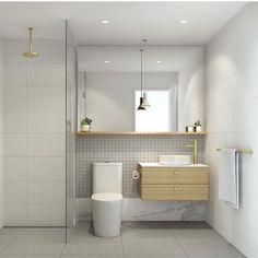 Bathroom Inspiration // Brass detail, subtle but timeless ☝🏻️Designed by Adele Bate Design Bathroom Tapware, Ensuite Bathrooms, Tiny House Bathroom, Upstairs Bathrooms, Bathroom Spa, Bathroom Renos, Laundry In Bathroom, Basement Bathroom, Bathroom Interior