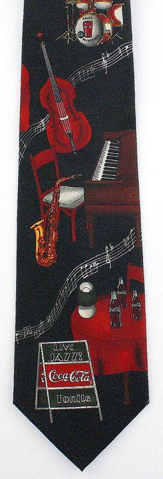 New Coca Cola Jazz Club Mens Necktie Soda Coke Brand Music Drink Black Neck Tie #CocaCola #NeckTie