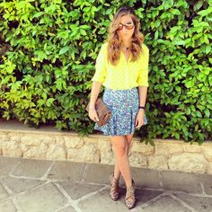 Yellow blouse on blue flower skirt with heels this outfit is now at Your Outfit Today Flower Skirt, Yellow Blouse, Flower Patterns, Blue Flowers, Outfit Of The Day, My Style, Heels, Floral, Skirts