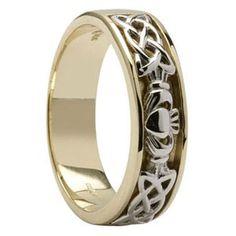 14K Claddagh & Celtic  Knot Wedding Ring Mens