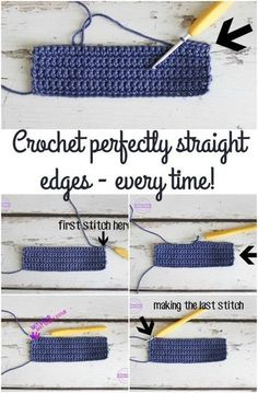 Exactly where to put the first and last crochet stitch so that you get perfectly straight edges.