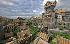 Wallpaper minecraft, blocks, city, building, house, street, tree, sky, clouds