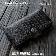 iPhone 各種対応の本革手帳型ケースです。良質のサドルレザーを使用し、その上から手彫で花柄カービングとバスケット模様をあしらっています。 This iPhone flip case is made of best quality Genuine leather with beautiful craftsmanship. Iphone Flip Case, Iphone Cases, Made Of, Carving, With, Wallet, Leather, Handmade, Beautiful