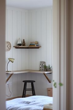 Compact desk built into a corner in a child's bedroom in Rockport, Maine, designed by Jersey Ice Cream Co.
