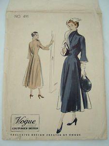 Vintage-Vogue-039-couturier-design-039-40s-dress-coat-pattern-No-491-size-bust-34-034