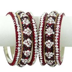 Hochzeit Braut Kundan Bangle September Bollywood Bangles Ethnische Maroon CZ Schmuck 2 * 8 | Your #1 Source for Jewelry and Accessories