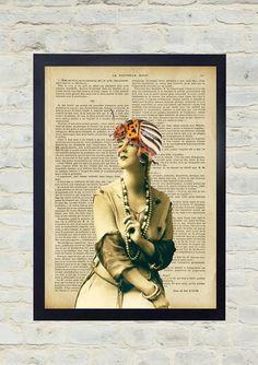Vintage Dictionary Art Print. Woman with beetle hat. Original Artwork. Old paper print. Vintage Illustration poster. Home wall Decor.
