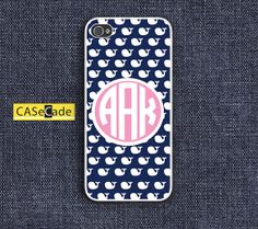Whale Personalized Monogram Phone Cases for iPhone 4/4s, iPhone 5/5s/5c, Galaxy S3/S4