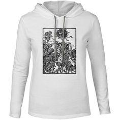 Mintage Skeleton & Roses Mens Fine Jersey Hooded T-Shirt