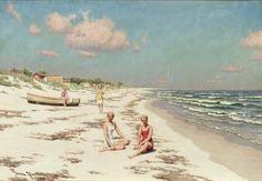 Women on the beach in Falsterbo (1927) - Johan Krouthén - (Swedish, 1858 - 1932)