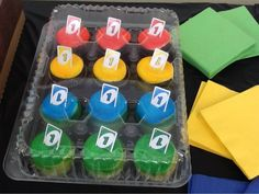 UNO party cupcakes, just add mini uno cards.