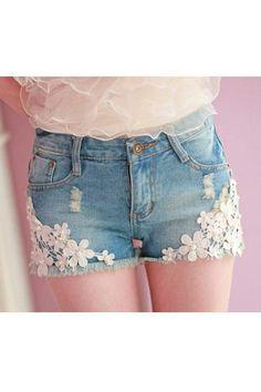 lace shorts | ... http://www.oasap.com/shorts/11133-lace-flowers-embellished-shorts.html