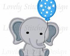 Elefante del globo diseño de bordado de Applique máquina NO: 0612