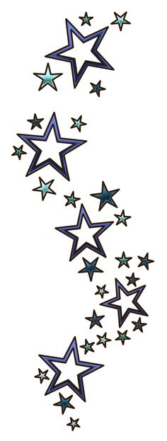 Stars with double borders. keep the negative space, add some color for birthstones of family members.