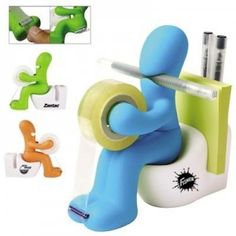 The Butt Station - Desk Accessory: Tape Dispenser Pen Memo Holder Clip Storage (Random Color) Random Color of Blue, Green, or Orange Pen, memo pad holder Paper clip storage Tape dispenser Pencil Holder, Pen Holders, Note Holders, Card Holder, Cool Office Supplies, School Supplies, Holiday Gift Guide, Holiday Gifts, Christmas Gifts