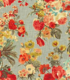 HGTV Home Decor Print Fabric Garden Odyssey Fog Colors.... Prettier in real life.