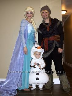 Authentic Frozen Family Costume – Elsa, Olaf, and Kristoff... Halloween Costume Contest