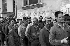 Henri Cartier-Bresson // Italy. Palermo. 1971. Shipyard workers during lunch time.