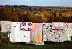 colorful blankets on the drying line