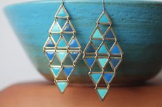 Blue Turquoise Long Earrings Vintage by TequilaCloset on Etsy, $15.00