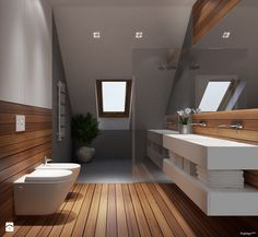 Aranżacje wnętrz - Łazienka: Projekt wnętrz 58m2. Pleśna - Średnia łazienka na poddaszu w domu jednorodzinnym z oknem, styl nowoczesny -…