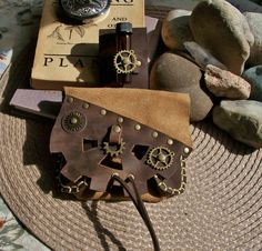 Steampunk leather pouch