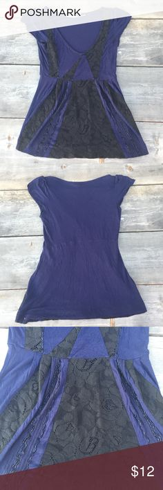 """KIMCHI BLUE URBAN OUTFITTERS BLUE BEADED TOP SZ S KIMCHI BLUE URBAN OUTFITTERS BLUE BEADED TOP SZ S- ARMPIT TO ARMPIT 15.5"""" FRONT LENGTH 18"""" LACE Urban Outfitters Tops Blouses"""