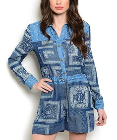 Another great find on #zulily! Blue & Ivory Geometric Romper #zulilyfinds
