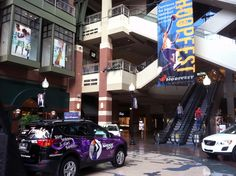 Grand format banner and Toyota RAV4 vehicle wrap produced by Cassel Promotions & Signs. Check them out downtown at River Park Square for the upcoming Spokane Hoopfest event this weekend.