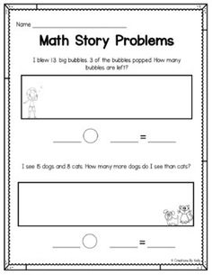 Addition and Subtraction Word Problems First Grade Math, Grade 1, Pre K Math Worksheets, Big Bubbles, Math Problems, Addition And Subtraction, Math Centers, Teacher, Writing