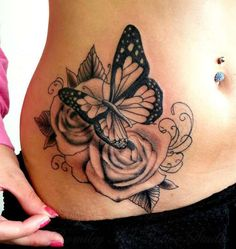 ronmileyink:by-jack-black-and-grey-roses-side-piece-flowers-butterfly