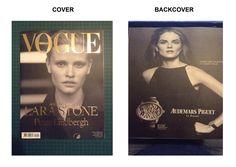 Deel 2 analyse - Magazine Vogue: Cover bestaat een model en de naam van het model en de maker er van. de gouden letters trekken de aandacht van de lezer op de zwart/witte achtergrond. De backcover bestaat uit reclame, ook in het zwart/wit.