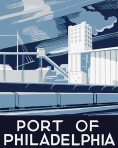 A poster promoting Philadelphia shows railroad freight cars at the Port of Philadelphia. Created in 1936 as part of the WPA Federal Art Project in Pennsylvania.