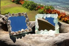 Small Square Shell and Sea Glass Mirrors by FlatteryDesigns, $10.00