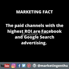 If you are working in digital marketing company or if you own a business and want to promote it via advertising then this marketing fact will help you to choose the best paid option.  As we all know facebook and google ads and lot of other platforms are available in the market. But only facebook and google ads give u higher ROI.  #marketingenthu #marketingenthufacts #facebook #google #googleadwords #roi #roidriven #paidpromotion #payperclick #digitalmarketing #advertising #paid #paidchannel Search Advertising, Only Facebook, Google Ads, Competitor Analysis, Platforms, Digital Marketing, Acting, Channel, Facts