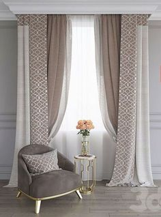 Intricate window treatments for your living room in neutral colours