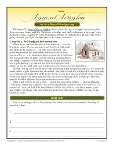 Anne of Avonlea | 7th Grade Reading Comnprehension Worksheet...tons of comp activities for tier.