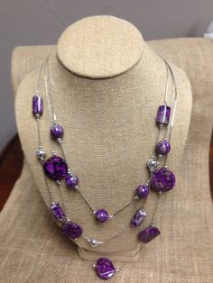 Purple Beaded Necklace and Earrings