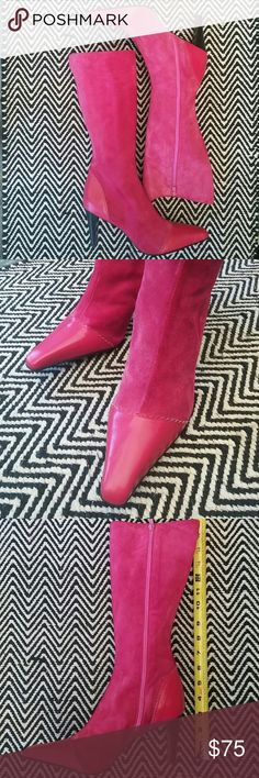 """LILLY PULITZER suede boots, gently used These boots are so vibrant and bright and in good used condition. True 8.5 but will fit size 8 just fine. 3"""" heel. 13"""" around calf. Lilly Pulitzer Shoes Heeled Boots"""