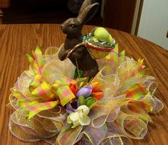 Easter deco mesh centerpiece 12 inch Free shipping! by NancysNowandForever on Etsy