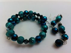 Turquoise Teal & Midnight Blue Memory Wire by BalquesJewelry